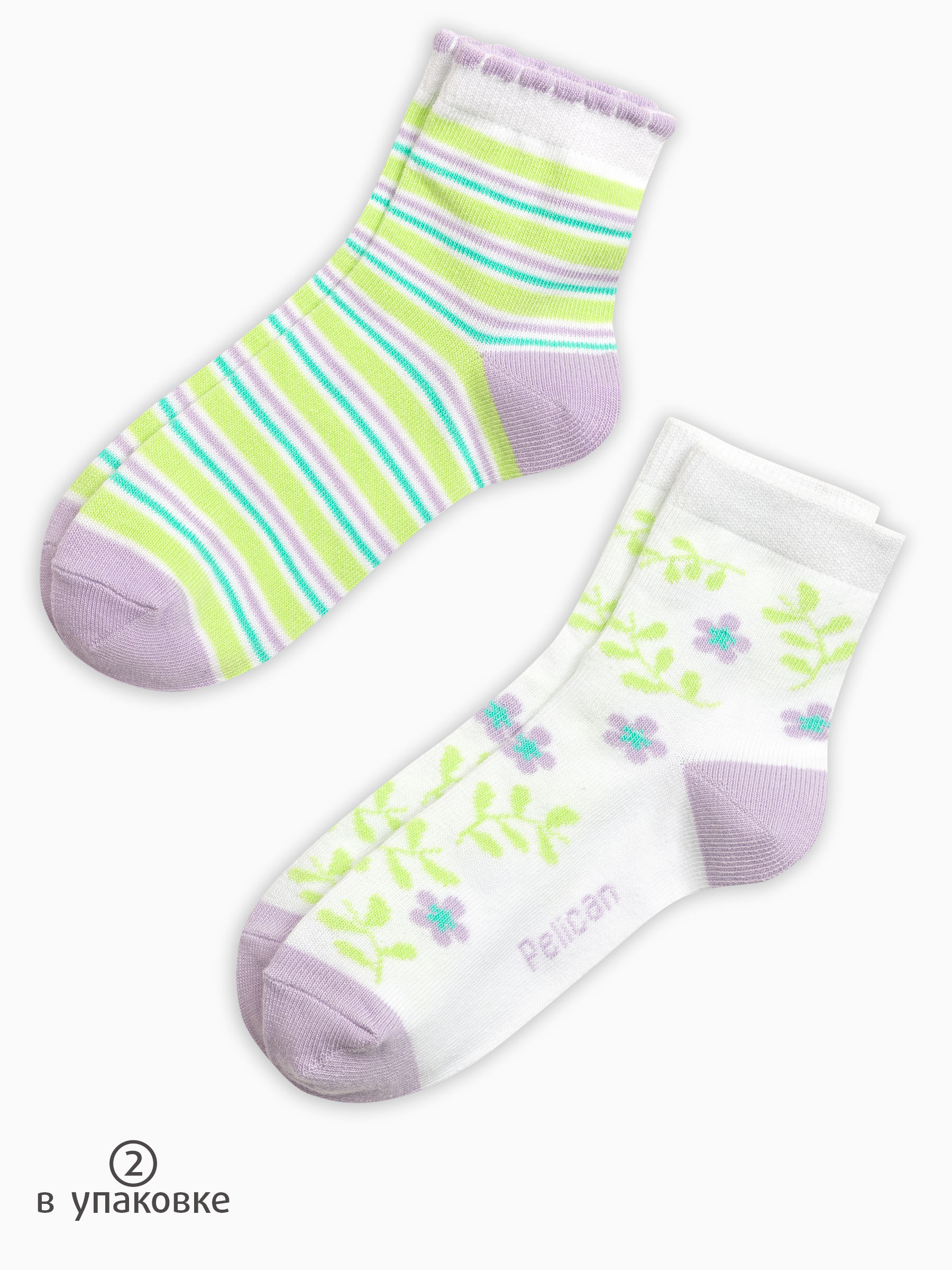 71a11437cbed9 Pelican GEG3108(2), носки детские для девочек 2 пары цвета белый ...